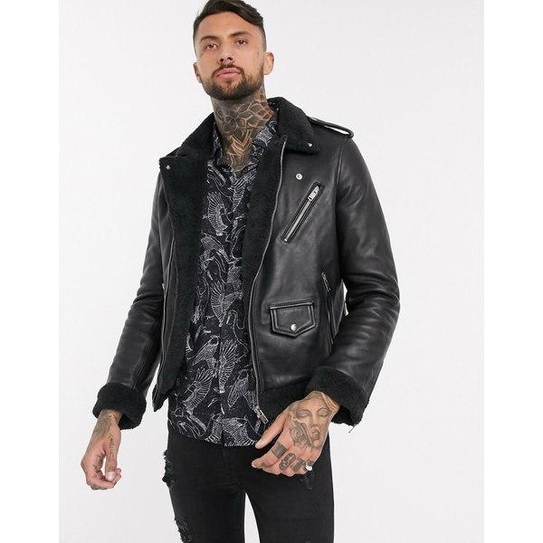 ボロンガロトレバー メンズ ジャケット&ブルゾン アウター Bolongaro Trevor orlando biker leather jacket Black