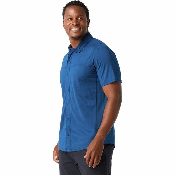 スマートウール メンズ シャツ トップス Merino Sport 150 Short-Sleeve Button-Up Shirt - Men's Alpine Blue