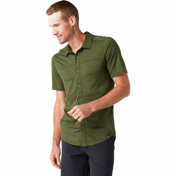 スマートウール メンズ シャツ トップス Merino Sport 150 Short-Sleeve Button-Up Shirt - Men's Moss Green Heather