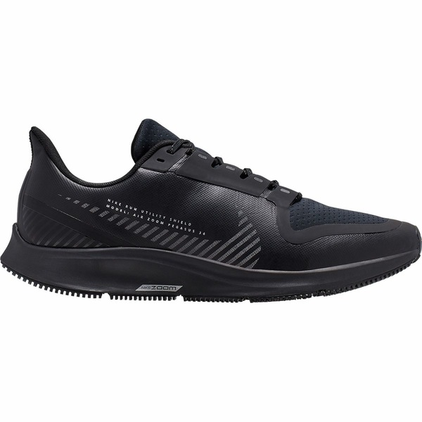 ナイキ メンズ スニーカー シューズ Air Zoom Pegasus 36 Shield Running Shoe - Men's Black/Black-Metallic Silver