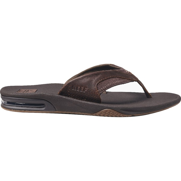 リーフ メンズ サンダル シューズ Leather Fanning Flip Flops - Men's Dark Brown