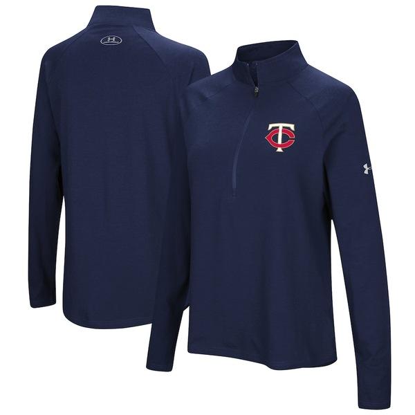 アンダーアーマー レディース ジャケット&ブルゾン アウター Minnesota Twins Under Armour Women's Passion Performance Tri-Blend Raglan Half-Zip Pullover Jacket Navy