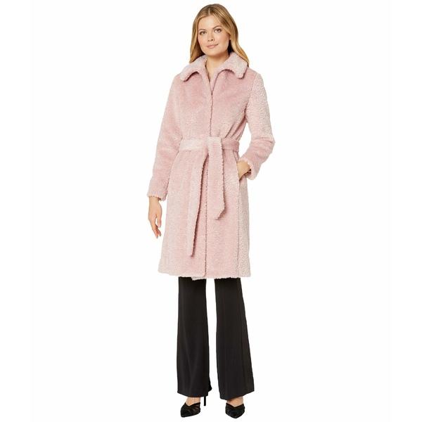 ヴィンスカムート レディース コート アウター Belted Faux Fur Jacket V29711A Pink