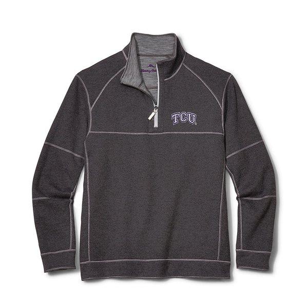 トッミーバハマ メンズ ニット&セーター アウター Collegiate Sandbar Slub Reversible Half-Zip Pullover TCU Horned Frogs Grey