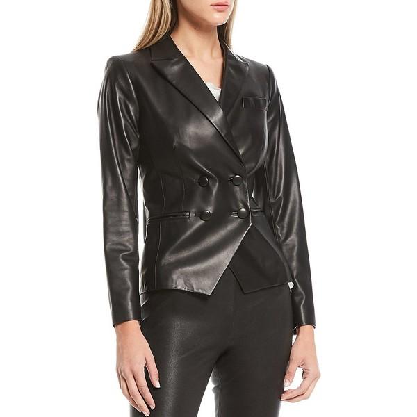 人気大割引 アントニオメラニー レディース コート アウター Luxury Collection Zoe Genuine Leather Peak Lapel Double Breasted Jacket Black, ピットスポーツ d8727524