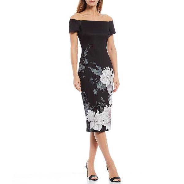 格安SALEスタート! テッドベーカー レディース ワンピース トップス Off-The-Shoulder Neck Bardot Neck Peony Black Print Floral Print Midi Bodycon Dress Black, 【大放出セール】:45e8c176 --- baecker-innung-westfalen-sued.de