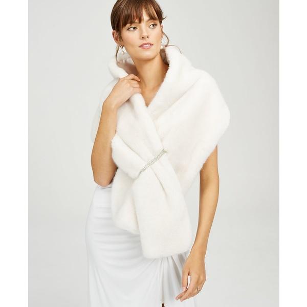 レディース アウター ジャケット&ブルゾン パペル Embellished アドリアナ Ivory Faux-Fur Shrug
