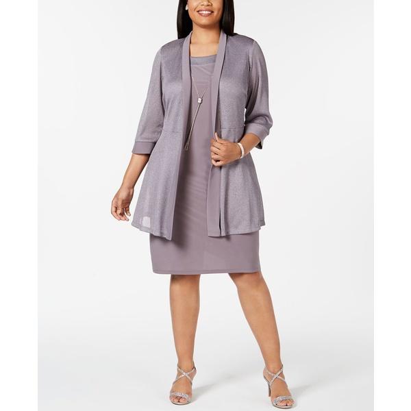 アールアンドエムリチャーズ 本日の目玉 レディース トップス 保証 ワンピース Silver 全商品無料サイズ交換 Dress Plus Jacket Shift Metallic Size