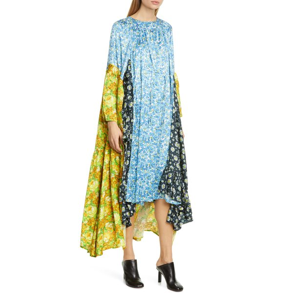 ヴェトモン レディース ワンピース トップス Vetements Mixed Floral Print Long Sleeve Midi Dress Blue Violet Multi Color