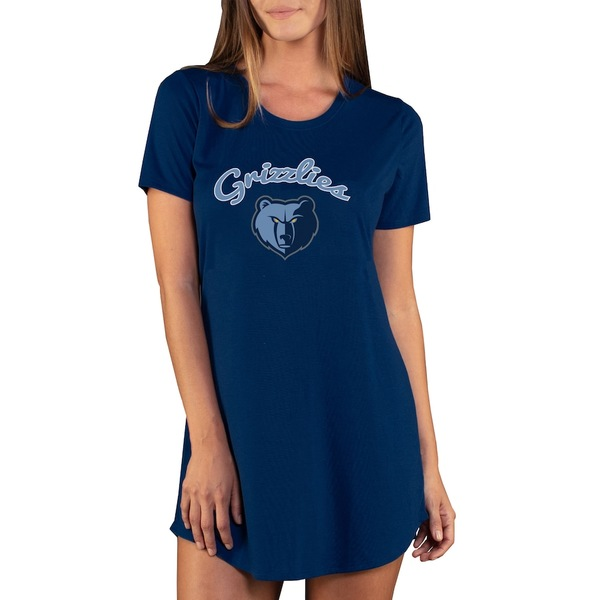コンセプトスポーツ レディース ワンピース トップス Memphis Grizzlies Concepts Sport Women's Marathon Knit Nightshirt Navy