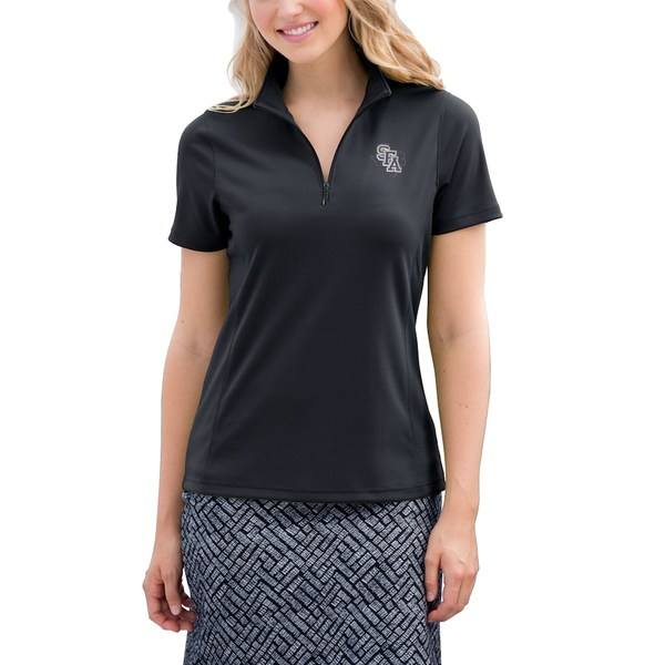 ビンテージアパレル レディース ポロシャツ トップス Stephen F Austin Lumberjacks Women's Vansport Micro-Waffle Mesh Polo Black