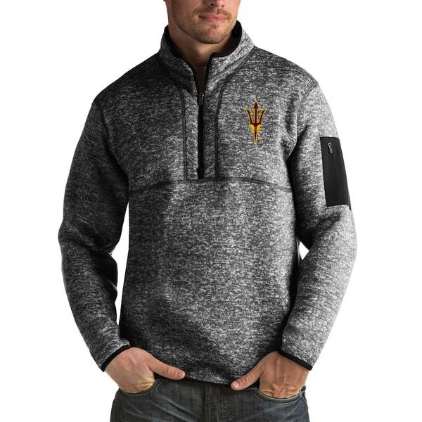 アンティグア メンズ ジャケット&ブルゾン アウター Arizona State Sun Devils Antigua Fortune Big & Tall Quarter-Zip Pullover Jacket Black