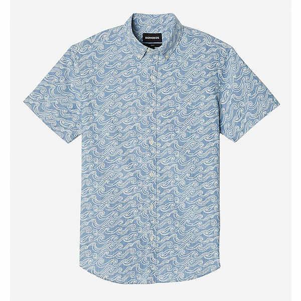 ボノボス メンズ シャツ トップス Bonobos Men's Riviera SS Shirt Sketch Wave Light Chambray