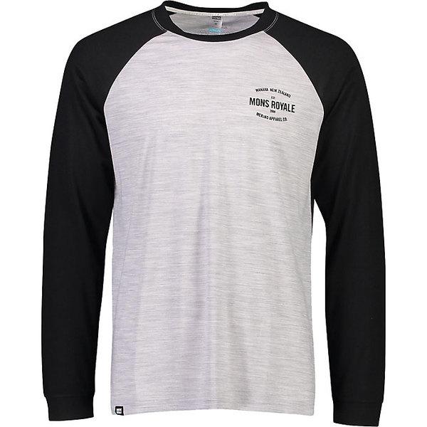 モンスロイヤル メンズ フィットネス スポーツ Mons Royale Men's Icon Raglan LS Top Black / Grey Marl