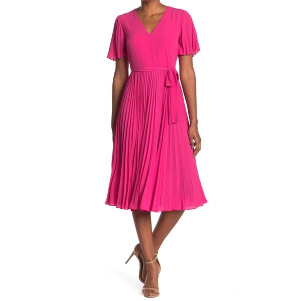 ドナモーガン 卓越 レディース トップス ワンピース ELECTRIC P トレンド Dress Pleated Tie Waist 全商品無料サイズ交換