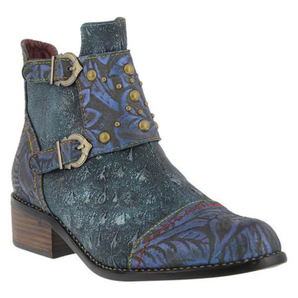 スプリングステップ レディース ブーツ&レインブーツ シューズ Nailhead Buckled Ankle Boot Blue Leather/Textile