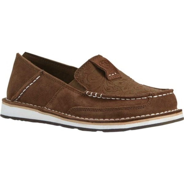 アリアト レディース スニーカー シューズ Cruiser Moc Toe Slip On Brown Suede/Brown Floral Emboss Full Grain Leather