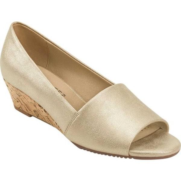 エアロソールズ レディース サンダル シューズ Application Sandal Gold Metallic Synthetic Leather