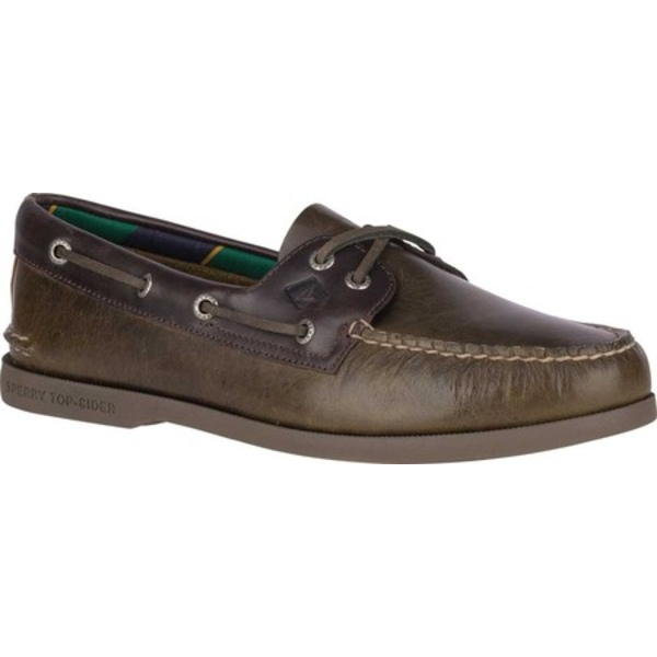 トップサイダー メンズ デッキシューズ シューズ Authentic Original 2-Eye Plush Varsity Boat Shoe Olive/Brown Leather