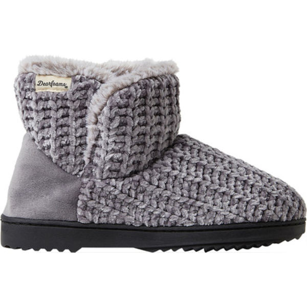 ディアフォームズ レディース サンダル シューズ Fairisle Or Solid Chenille Knit Bootie Slipper Grey ChenilleXTOkiZPu