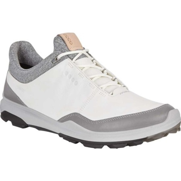 エコー メンズ スニーカー シューズ BIOM Hybrid 3 Tie GORE-TEX Golf Shoe White/Black Yak Leather