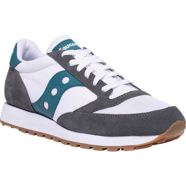 サッカニー メンズ スニーカー シューズ Jazz Original Vintage Sneaker Grey/White/Teal Nylon/Suede