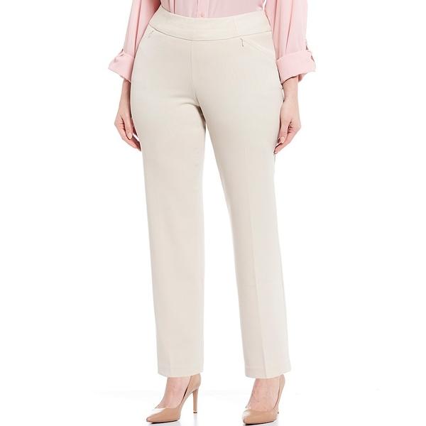 インベストメンツ レディース カジュアルパンツ ボトムス Plus Size the PARK AVE fit Pull-On Straight Leg Two-Way Stretch Pants Heather Sand
