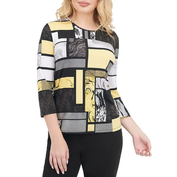 アリソンダーレイ レディース Tシャツ トップス Petite Size Yellow Windows Print Knit Jersey Foil Detail 3/4 Sleeve Top Yellow Windows