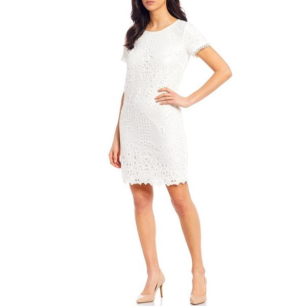 カールラガーフェルド レディース ワンピース トップス Floral Lace Trim Detail Short Sleeve Sheath Dress Soft White