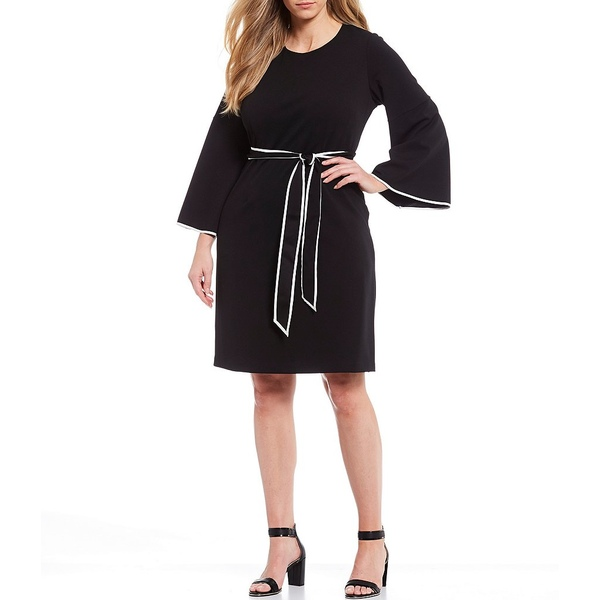 アドリアナ パペル レディース ワンピース トップス Plus Size Knit Crepe Contrast Trim Tie Waist Shift Dress Black/Ivory