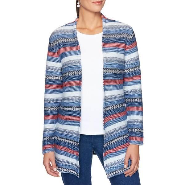 ルビーロード レディース ニット&セーター アウター Petite Size Stripe Jacquard Open-Front Long Cardigan Indigo Tie Dye