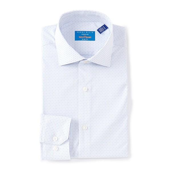 ペリーエリス メンズ シャツ トップス Tech Premium Non-Iron Slim Fit Spread Collar Diamond Stripe Dress Shirt Light Blue
