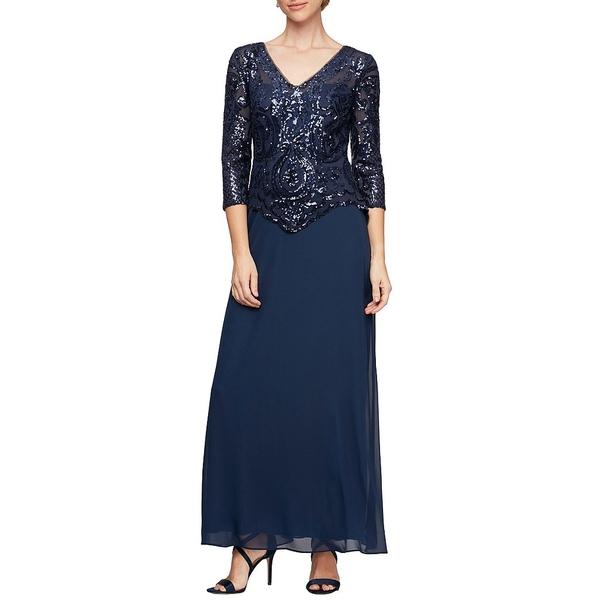 アレックスイブニングス レディース ワンピース トップス Petite Size Sequin Lace Bodice V-Neck 3/4 Sleeve Chiffon Gown Bright Navy