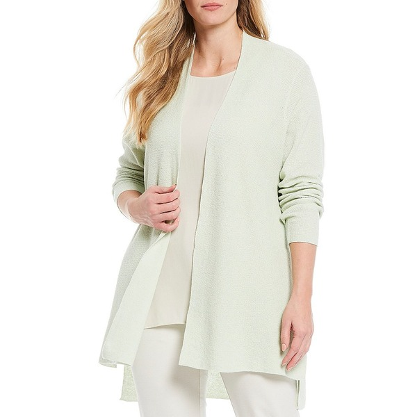 エイリーンフィッシャー レディース ニット&セーター アウター Plus Size Organic Linen Stretch Crepe Long Sleeve Hi-Low Open Front Cardigan Mist