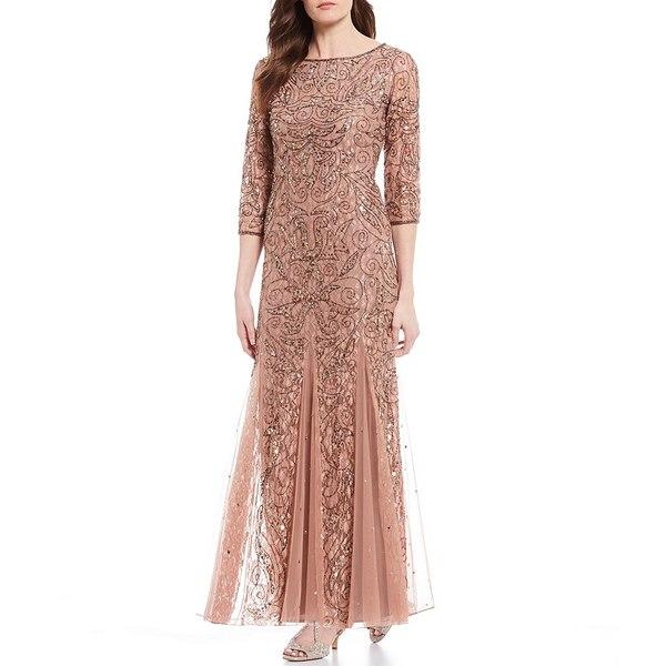 ピサッロナイツ レディース ワンピース トップス Petite Size 3/4 Sleeve Beaded Lace Gown Rose