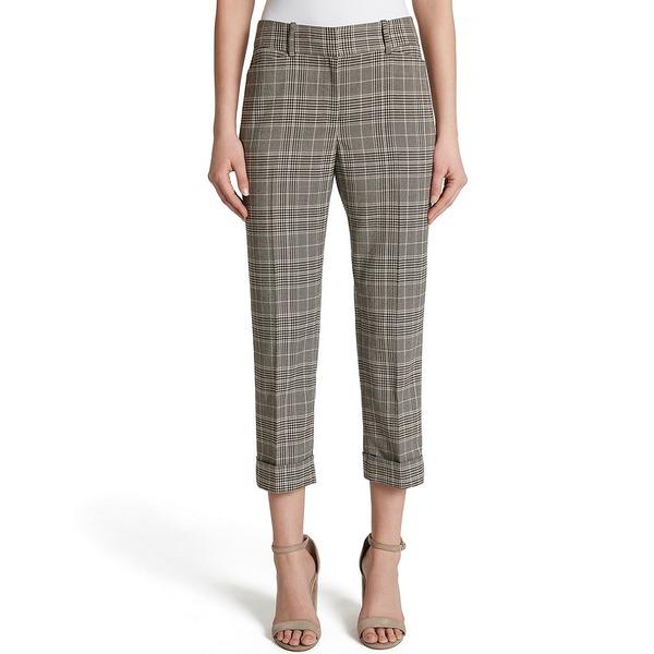 タハリエーエスエル レディース カジュアルパンツ ボトムス Plaid Suiting Slim Leg Cropped Trouser Pant Tan/Black/Pink