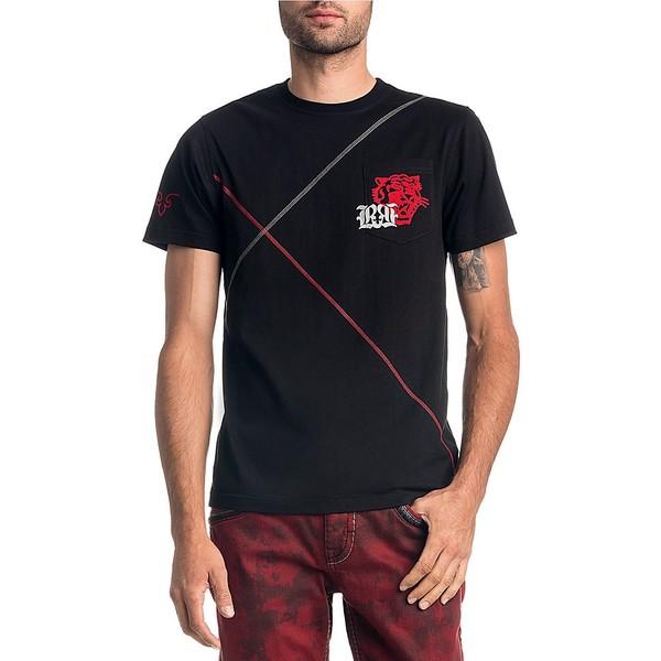 ロックリバイバル メンズ Tシャツ トップス Short-Sleeve Tiger Back Screen Graphic T-Shirt Black