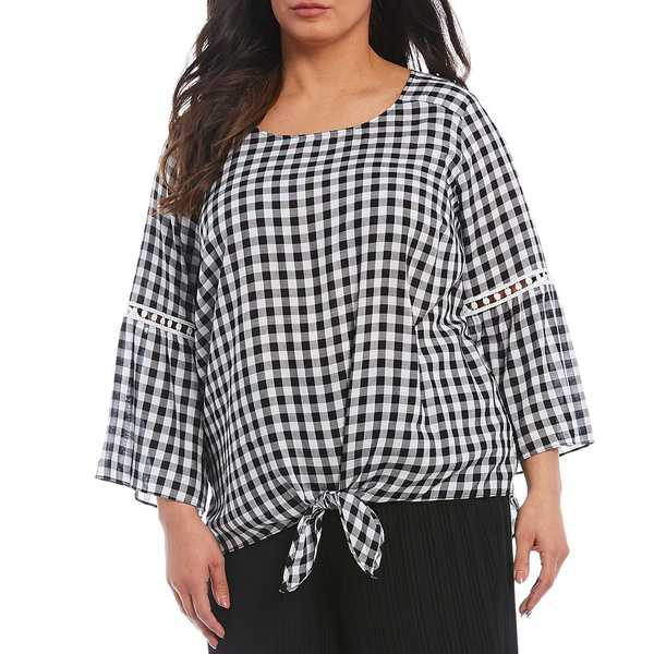 アイエヌスタジオ レディース シャツ トップス Plus Size Gingham Print 3/4 Sleeve Tie Front Top Black/White Gingham