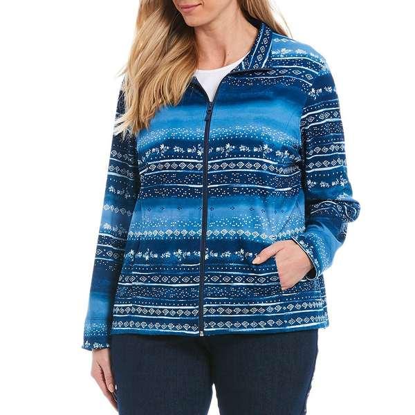 アリソンダーレイ レディース ジャケット&ブルゾン アウター Plus Size Geo Multi Stripe Quilted Ponte Knit Zip-Front Jacket Denim Multi Twist