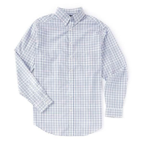 ランドツリーアンドヨーク メンズ シャツ トップス Luxury Cotton Long-Sleeve Plaid Sportshirt White