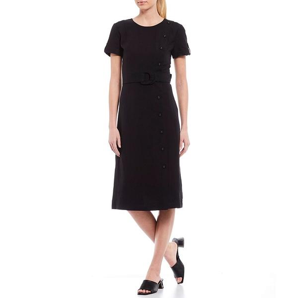 カールラガーフェルド レディース ワンピース トップス Linen Blend Faux Button Short Sleeve Midi Shift Dress Black