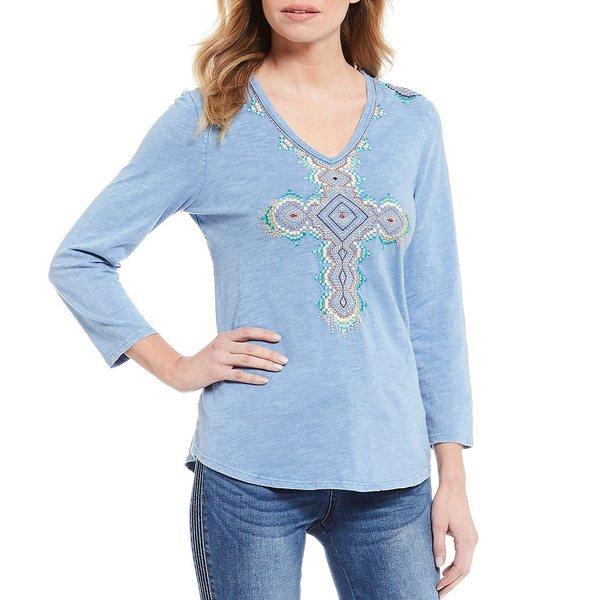 レバ レディース Tシャツ トップス Embroidered Cross V-Neck 3/4 Sleeve Cotton Tee Chambray