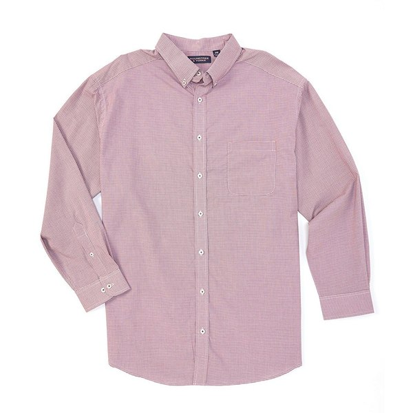 ランドツリーアンドヨーク メンズ シャツ トップス Big & Tall Luxury Cotton Long-Sleeve Checked Sportshirt Bright Berry