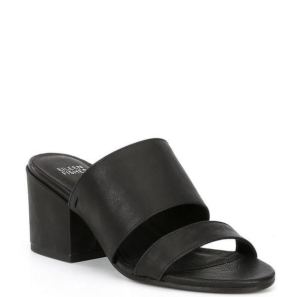 エイリーンフィッシャー レディース サンダル シューズ Rome Leather Block Heel Slide Sandals Black Leather