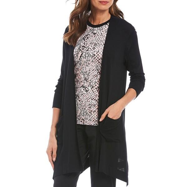 ジョーンズニューヨーク レディース ニット&セーター アウター Micro Crepe Rib Knit Jersey Essential Travel Cardigan Black