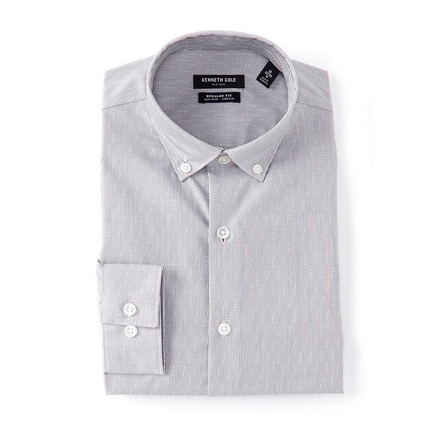 ケネスコール メンズ シャツ トップス Non-Iron Regular Fit Button-Down Collar Diagonal Dobby Dress Shirt Steel Gray