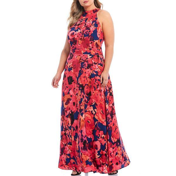タハリエーエスエル レディース ワンピース トップス Plus Size Floral Print Chiffon Halter Maxi Dress Navy/Fuchsia