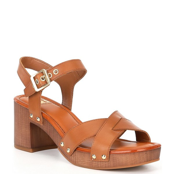 ジービー レディース サンダル シューズ Far-Out Leather Wood Heel Platform Sandals Dark Camel