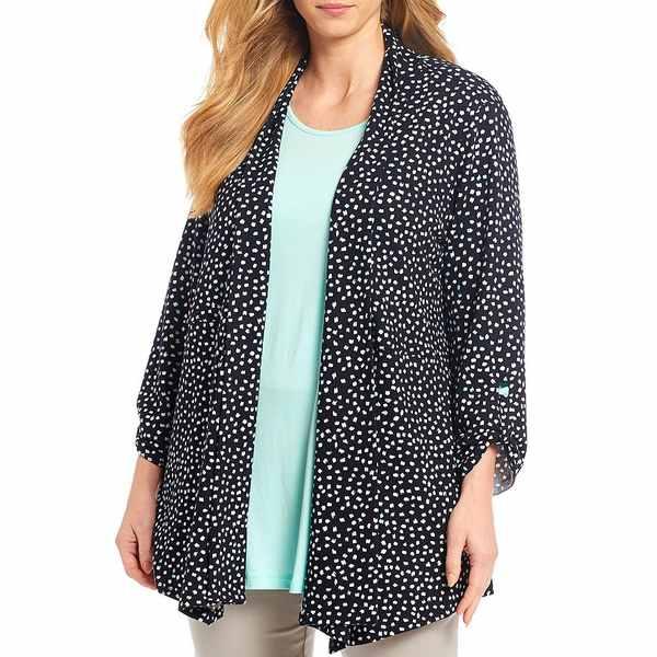マルチプルズ レディース ジャケット&ブルゾン アウター Plus Size Dot Print Banded Shawl Collar Open Front Jacket Dot Multi