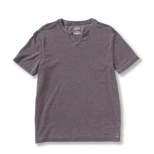 クレミュ メンズ Tシャツ トップス Jeans Burnout Washed Notch Neck Short-Sleeve Tee Asphalt Grey